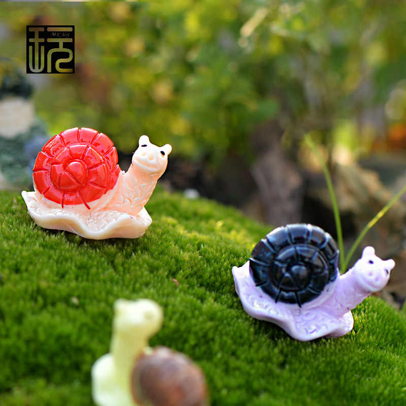 Small Red/ Blown/ Black Smile Snails Resin Craft Fairy Garden Miniatures Mini Garden Decoration Home Accessories Children Toys