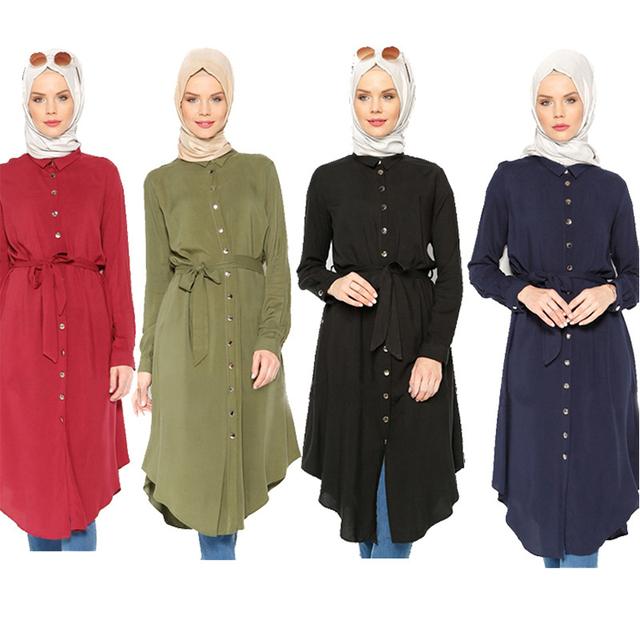 Malásia abayas islâmico Abaya Muçulmano Longo shirt Da Forma Das Mulheres blusa Solta plus size roupas de manga longa tops para as mulheres 2016