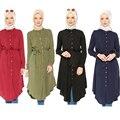 Malasia abayas islámicos Abaya Musulmán Larga camisa Moda Mujeres Sueltan la blusa más el tamaño de ropa de manga larga tops para las mujeres 2016