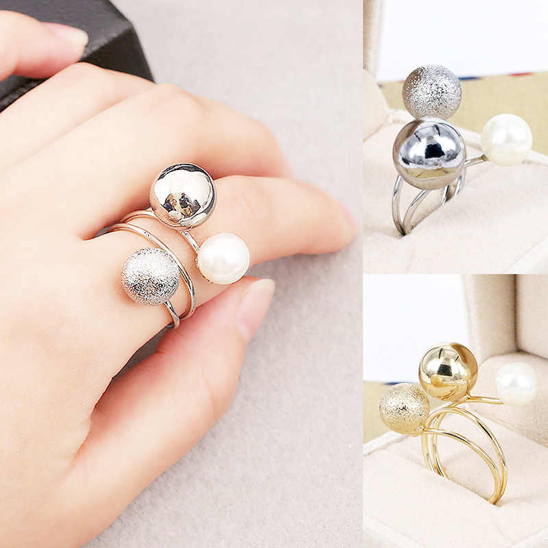 Golden Korean Elegant Women Lovely Girls 1PC Metal Balls Adjustable 2018 New Arrival Allergy Free Silvery Simulated Pearl