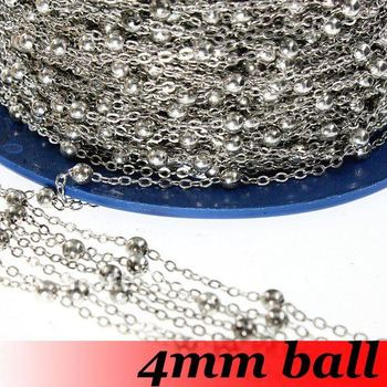 Free Shipping!!!100meter DIY jewelry findings-4mm ball Dark Silver Plated color O Link Chain