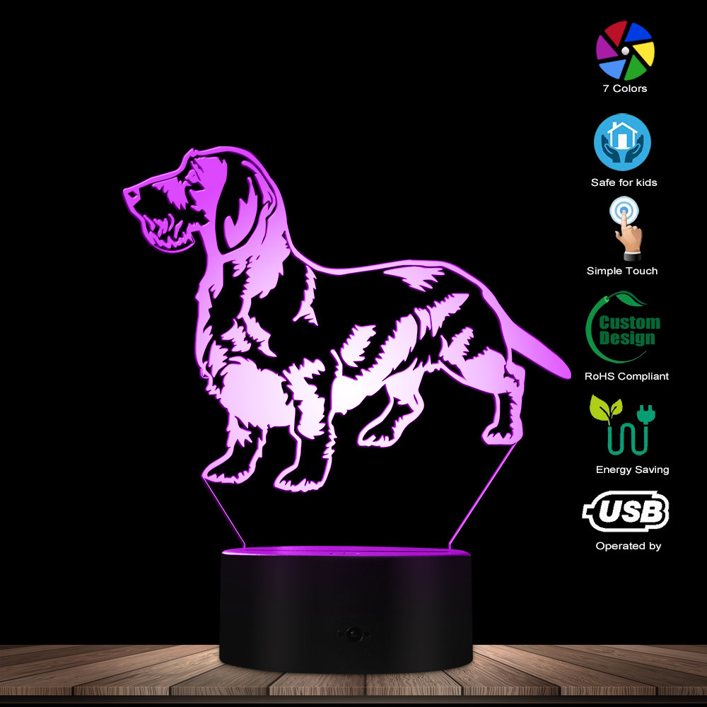 Cute Dachshund Dog 3D Optical Illusion Light Sausage Dog Wiener Dog Pet Puppy Home Decor LED Night Light Creative Table Lamp