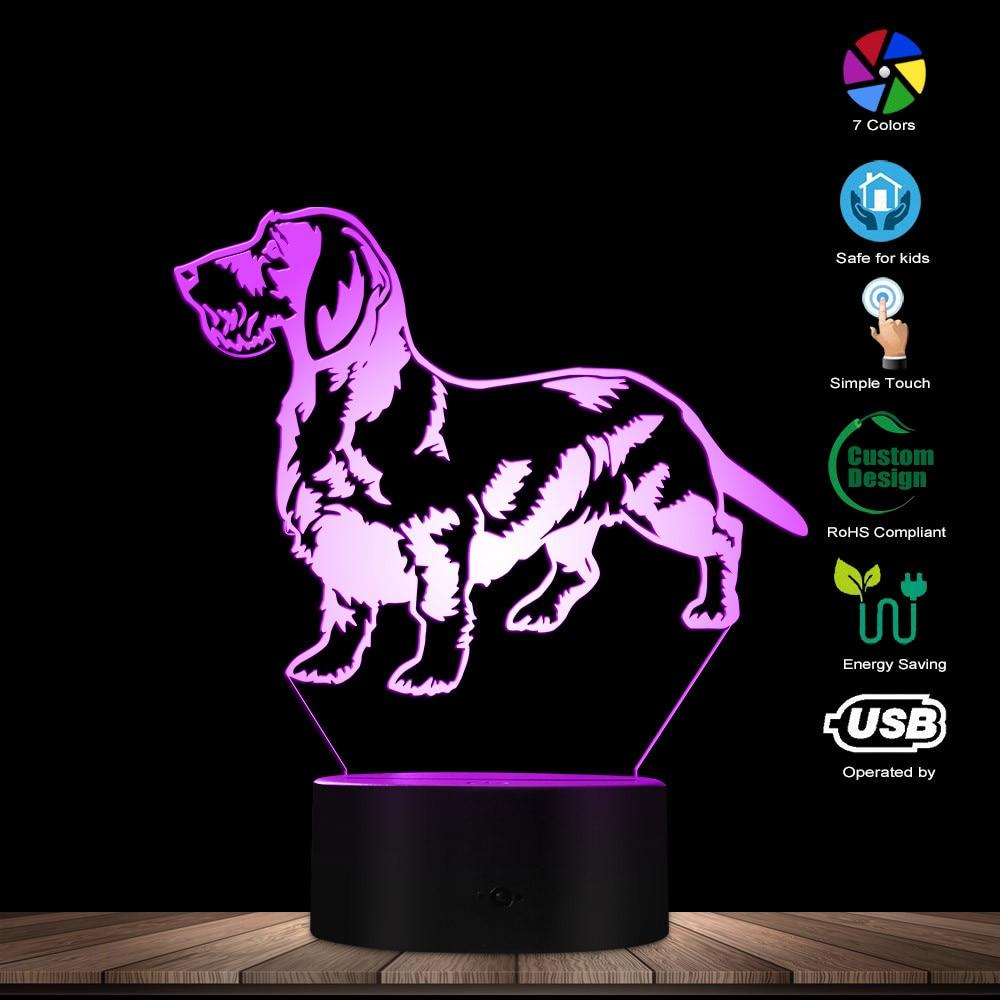 Cute Dachshund Dog 3D Optical Illusion Light Sausage Dog Wiener Dog Pet Puppy Home Decor LED Night Light Creative Table Lamp