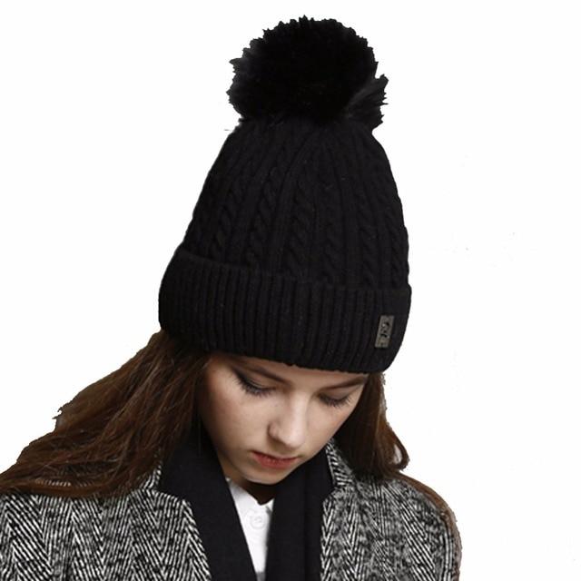 Inverno Gorro de Lã das mulheres Misturas de Lã Quente Forrado Grosso Pom  Pom Malha Chapéu 5952491049097