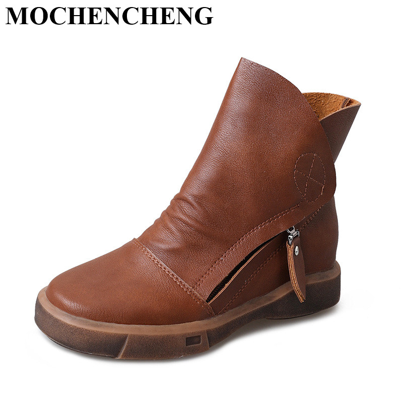 New Ankle Boots Women Shoes for Autumn Winter Retro Solid Stylish Comfortable Round Toe Flat Casual Shoes Female Short Boots 2016 leather shoes female autumn winter new flat heel round toe ankle boots tide martin boots women flat bottomed tassel boots