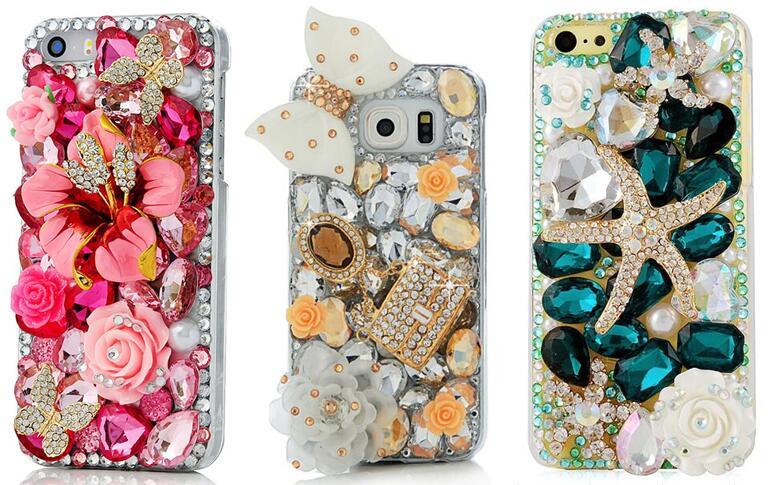 imágenes para Rhinestone Caso de La Cubierta Para el iphone 7 6 6 S Plus 5S Samsung Galaxy S8 S7 S6 Edge Plus S4 S5 mini Note 5 4 Para Huawei Sony HTC Xiaomi