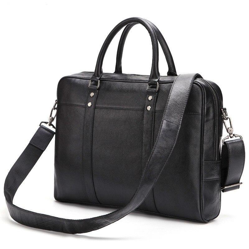 2018 New Genuine Leather Male Handbag Solid Cowhide Business Tote Men Bag For 15 Inch Laptop PR008139 multifunctional genuine leather cowhide dark coffee men briefcase tote back pack business bag fit 15 laptop pr577026q 1