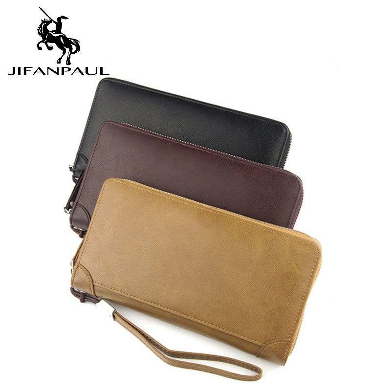 JIFANPAUL Men's And Women's Long Wallet Fashion Casual Classic Retro Multi-function Large Capacity Zipper Can Put Mobile Phone C