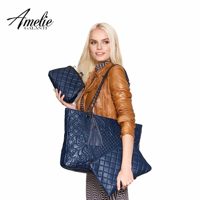 AMELIE GALANTI fashion women totes Composite bag Socialite women messenger handbag  high quality PU famous composite bags solid