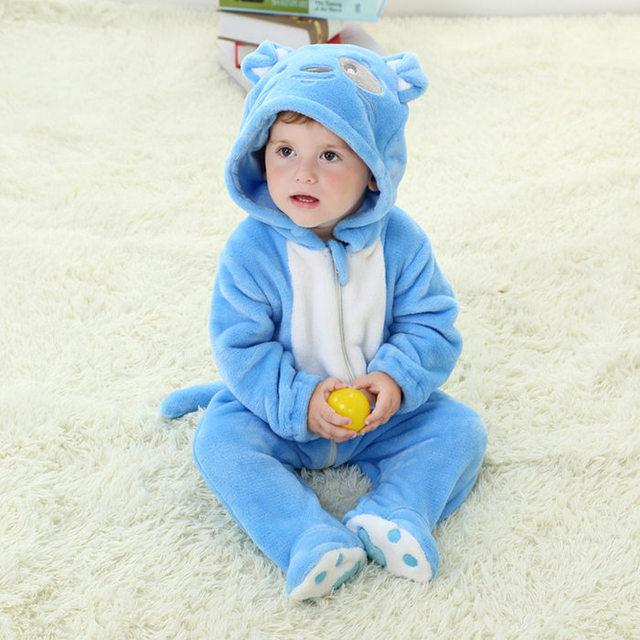 Romper do bebê Unisex, filhote de cachorro bonito formas animais dos desenhos animados meninas roupas, primavera queda marca meninos roupas de flanela com capuz (0-2 anos)
