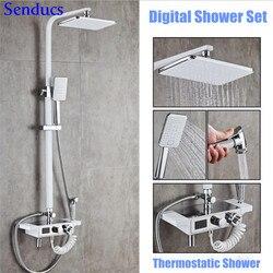 Senducs biały cyfrowy zestaw prysznicowy bezołowiowa mosiądz łazienka mikser dotknij placu pręt biały Chrome łazienka system prysznicowy przez mosiądz Bidet