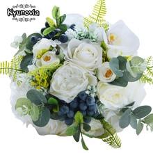 Kyunoviaグリーン代替ウェディング目玉トスは花束ローズブライダル花で果実山草原ウェディングブーケFE48