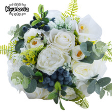 Kyunovia Groene Alternatieve Bruiloft Middelpunt Toss Boeket Rose Bridal Bloem met Bessen Bergweide Bruidsboeket FE48