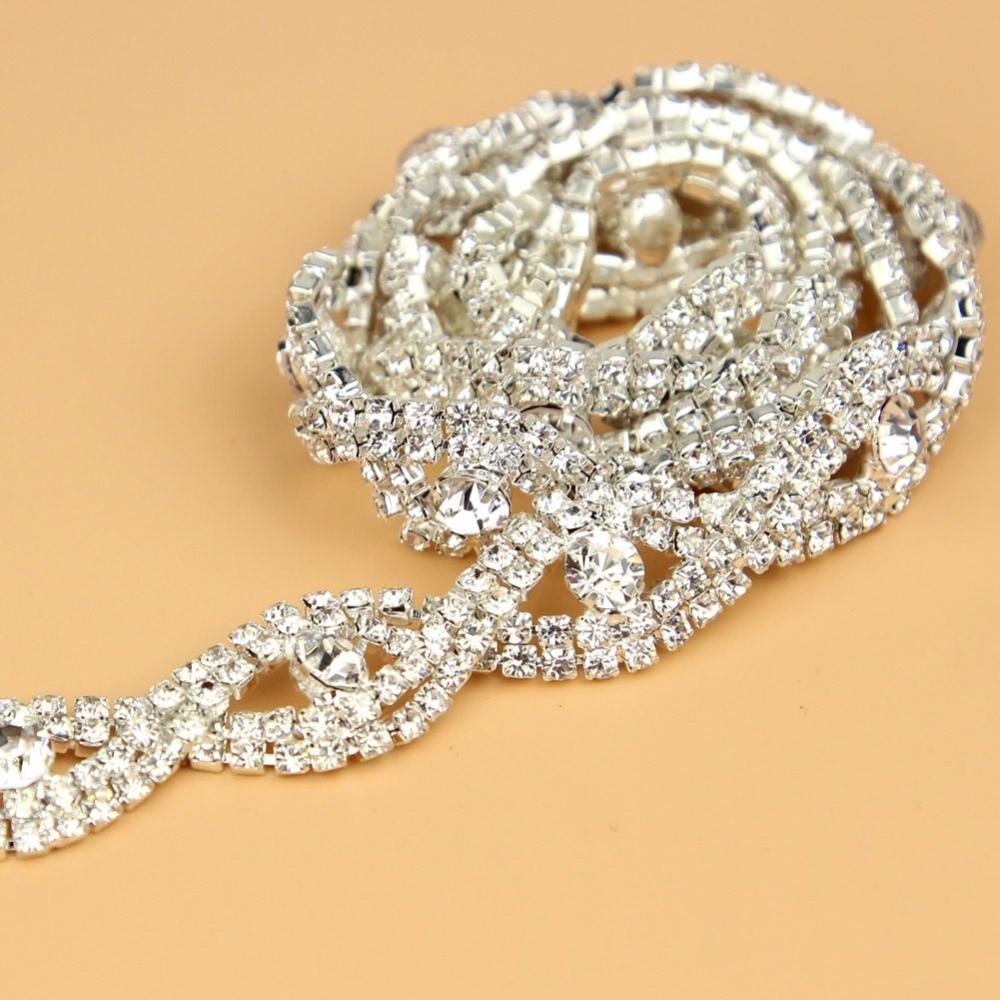 10Yards Diamante Trim Silver Crystal DIY Rhinestone Trimming Cup Chain, Bridal Applique Sew On Decor