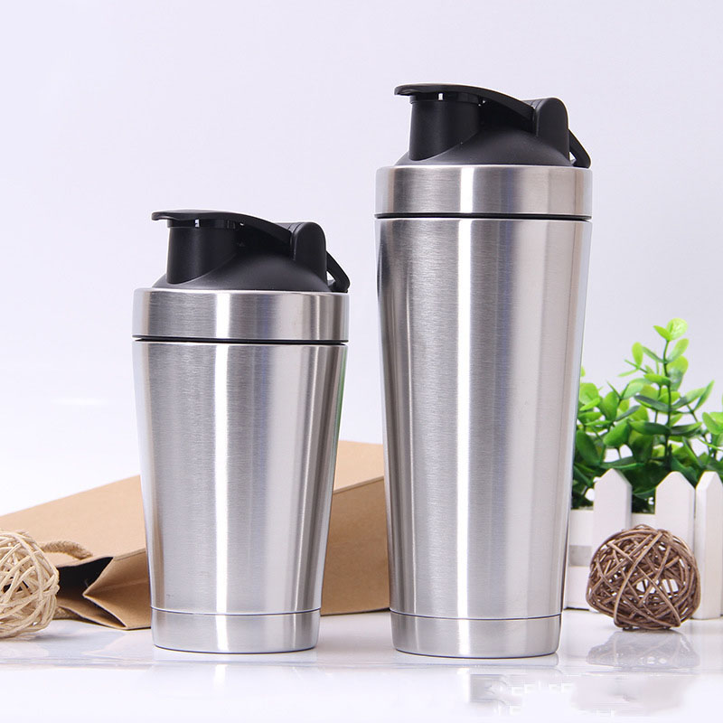 500ml 720ml Double Layer Stainless Steel Shaker Cup Vaccum Thermos Mug Fitness Sports Protein Powder Shaker Water Milk Water Mug