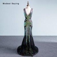 Sexy Transparent Black Mermaid Evening Dresses 2018 See Through Long Evening Gown V Neck Prom Gowns vestido de festa Custom Made
