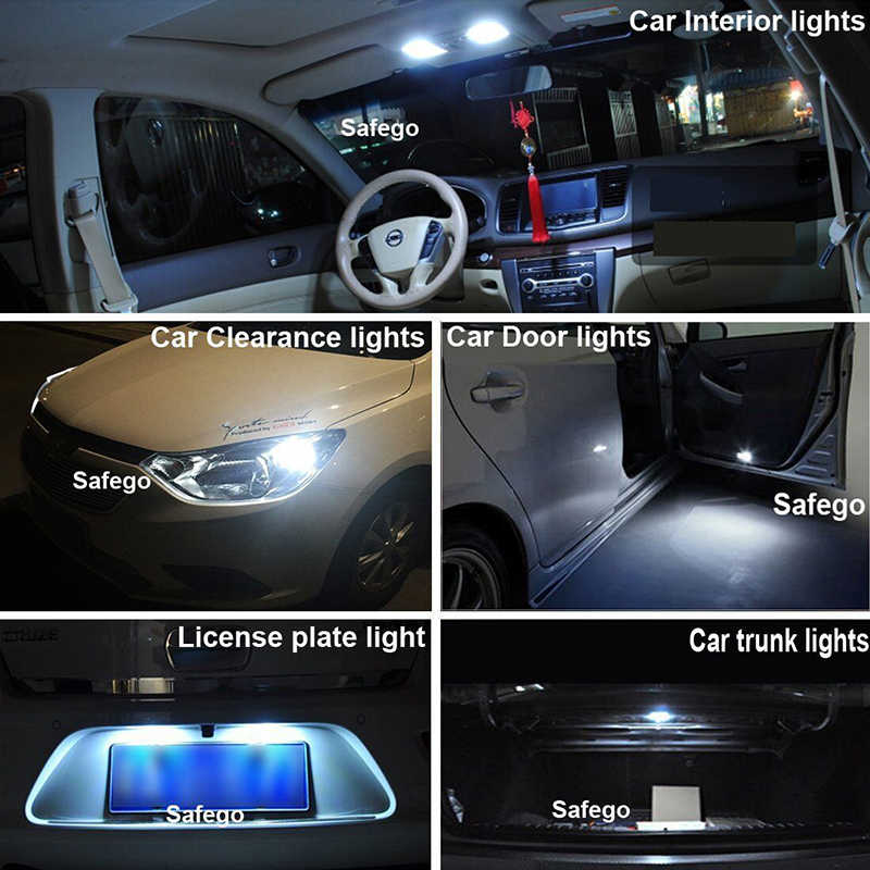 10PCS T10 W5W LED car interior light COB silicone auto Signal lamp 12V 194 501 Side Wedge parking bulb for lada car styling 8SMD