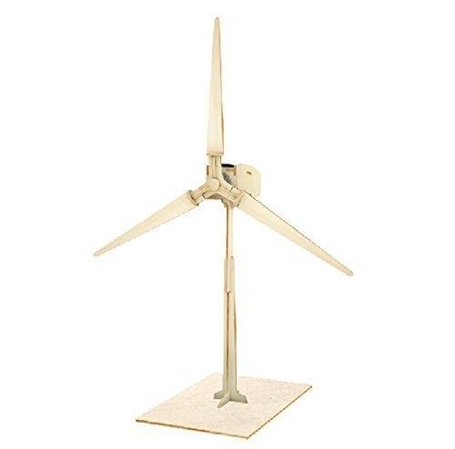 Power Energy DIY Kits Brick Block Wood Windmill Child Educational 3D Wooden Jigsaw Puzzle Toy W100