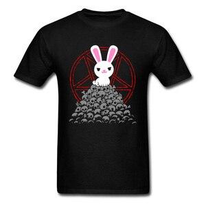 Śliczny zabójca koszulka męska biały królik T koszula czaszki Tee kuroshitsuji Logo topy króliczek koszulka kreskówka bawełna odzież