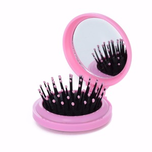 Image 5 - Portable Round Pocket Small Size Travel Massage Folding Comb Girl Hair Brush With Mirror Styling Tools 3 Colors