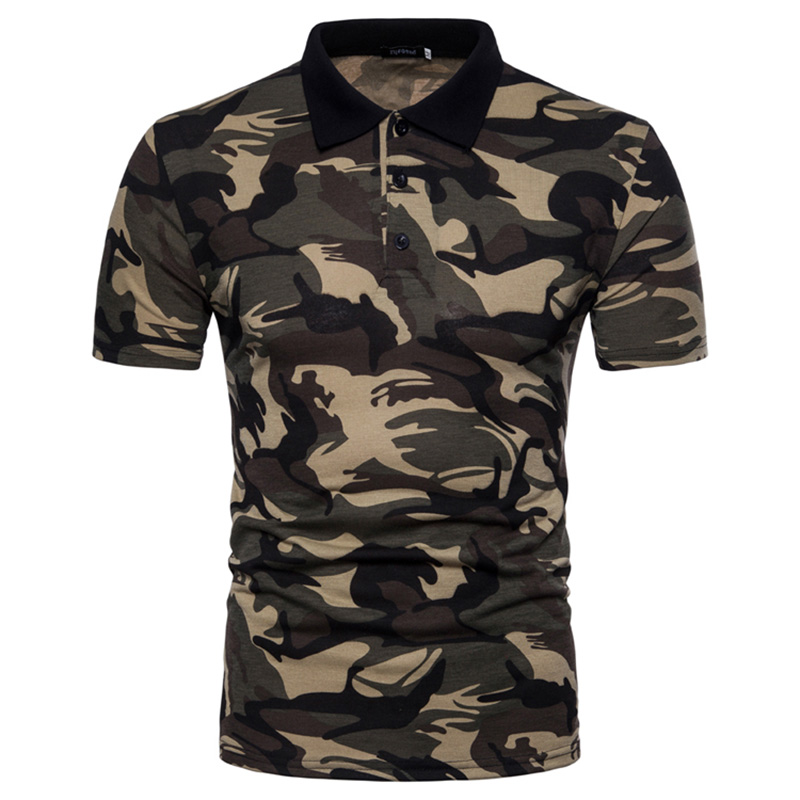 Brand Men Camo   Polo   shirt Casual Cotton Short Sleeve   Polo   Men Camouflage Slim Fit Plus Size