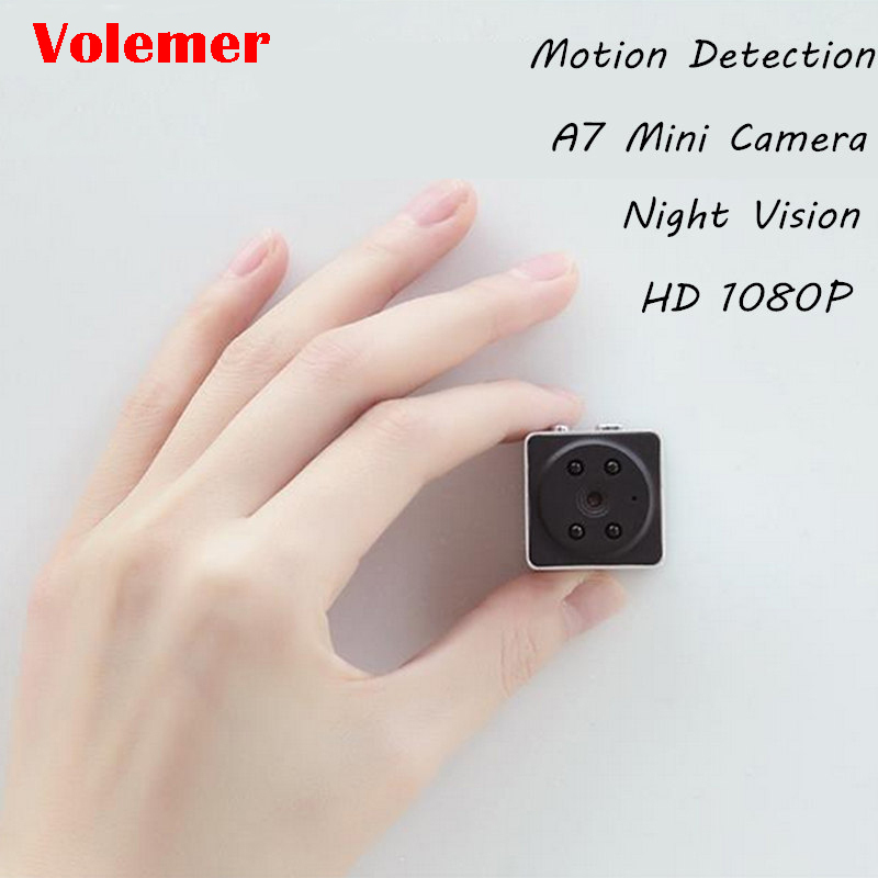 Volemer A7 Mini Camcorder Sports HD DV Night Version Mini Action Camera with Motion Sensor Body Cam Video Recorder Mini Camera