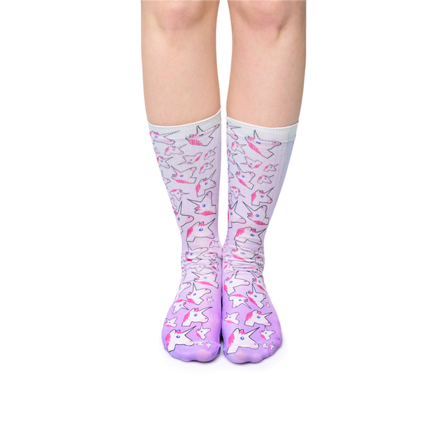 2264bcc99 2017 3D Full Print Unicorn Ombre Fashion Long Socks Women Funny Sock Sexy  Casual Sokken Fitness Harajuku Hosiery Calcetines Girl
