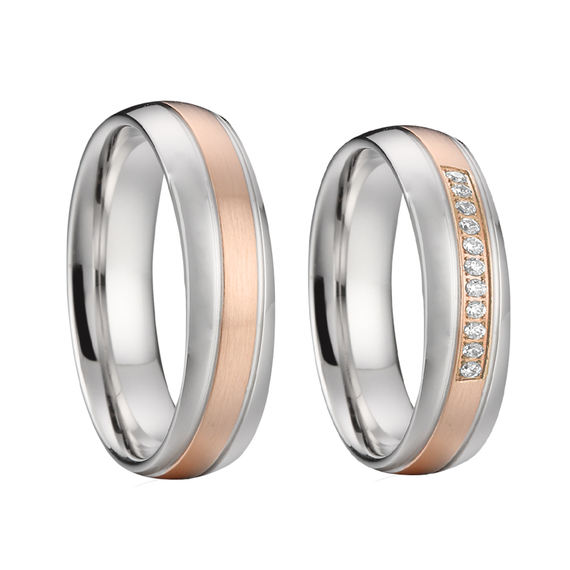 custom anniversary mens wedding band titanium rings pair sets alliances silver gold color promse couples rings for women