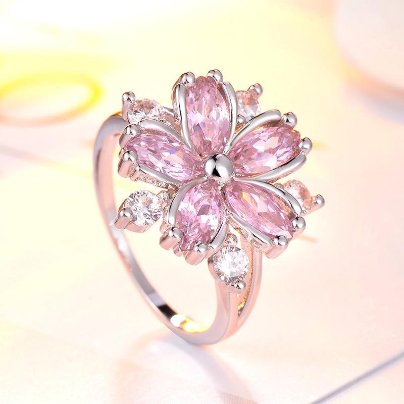Элегантные модные Помолвочные кольца принцессы Сакура для невесты ювелирные изделия романтические циркониевые женские кольца с цветком в...