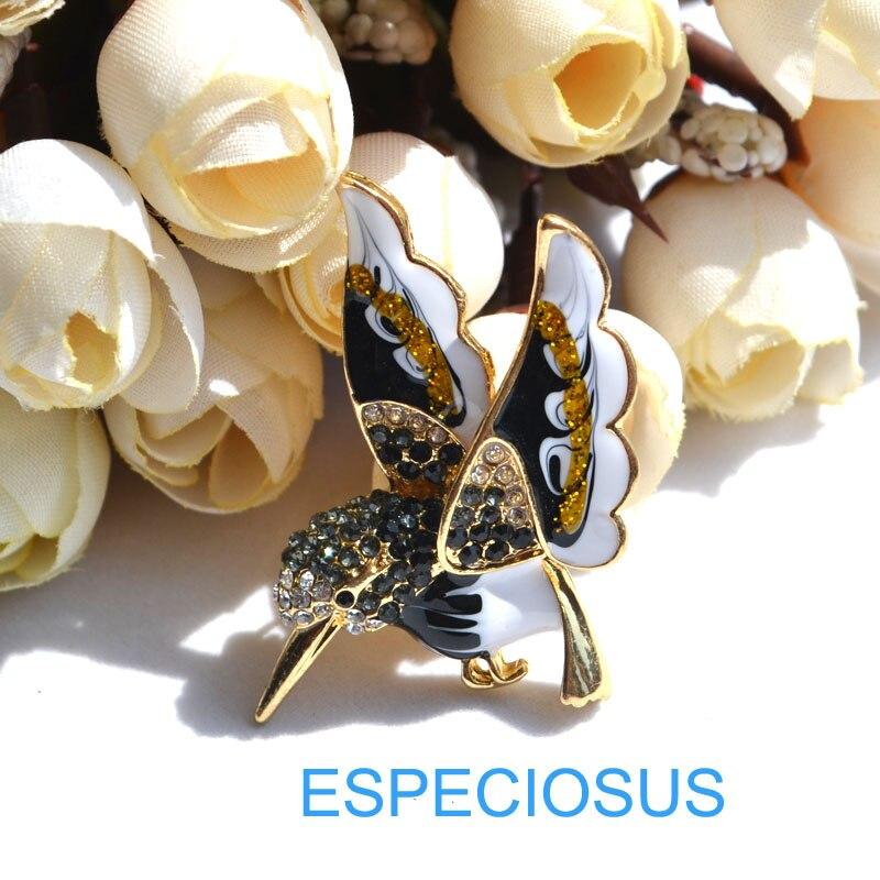 Элегантная булавка золотого цвета, Женская Брошь, стразы, подарки, мультфильм, жужжащая птица, нагрудная булавка, аксессуары, ювелирные изделия, четыре цвета, окрашенные