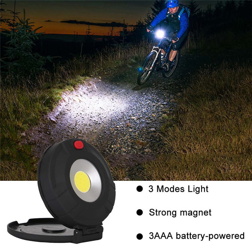 Double-sided Bike Bicycle Light COB LED Light With Torch Magnetic Pocket Torch Inspection Light Lamp for Cycling Camping A2
