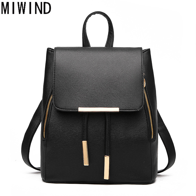 2016 Casual Women Backpack Female PU Leather Bagpack Bags For teenager Girls Young Lady Travel bag T1424