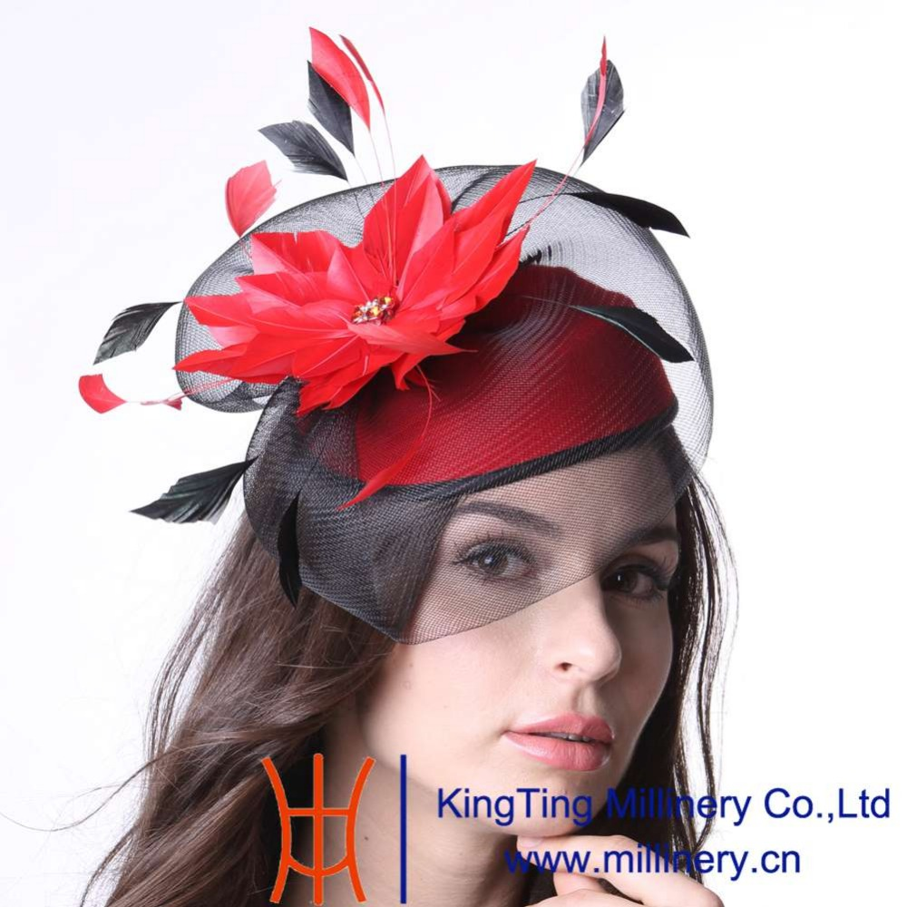 ФОТО June's Young Women Cocktail Fascinator Hats Feather Headwear With Headband Red Color Elegant Lady Fashion Wedding Dress Wear