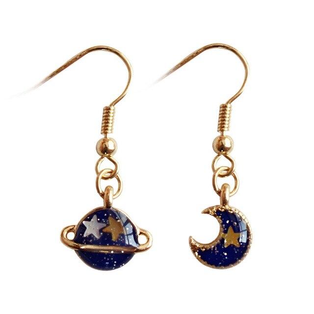Cartoon Cute Asymmetrical Blue Planet Moon Star Drop Earrings Long Dangle Fashion Jewelry For Women