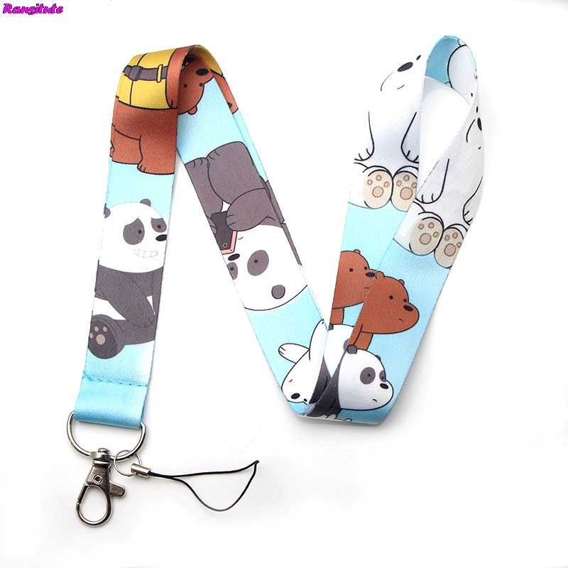 R110 We Bare Bears Key Lanyard ID Badge Holder Animal Phone Neck Strap and Keyring