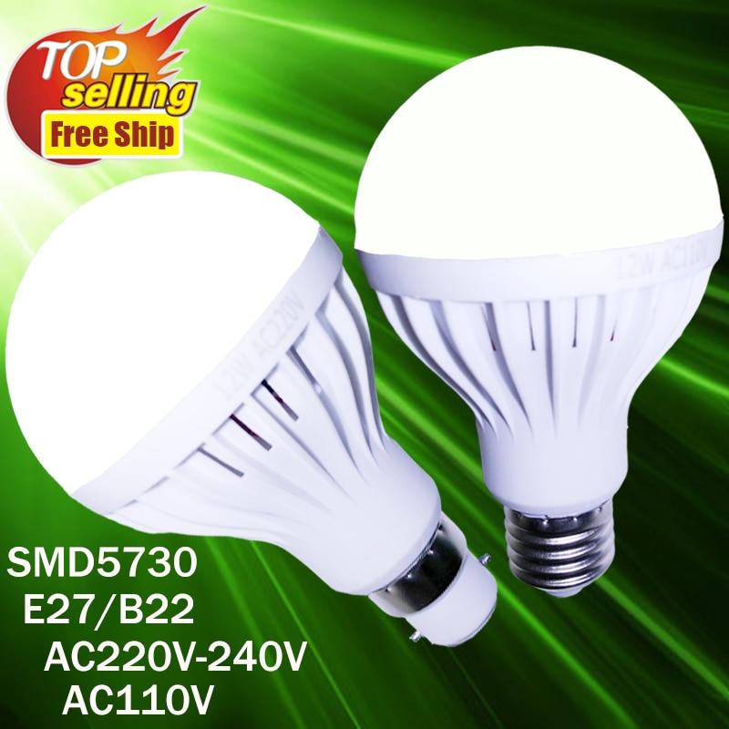 Новое поступление светодиодные лампочки E27 B22 3 Вт 5 Вт 7 Вт 9 Вт 12 Вт Светодиодный прожектор AC220V AC110V светодиодные лампы лампада для дома daglicht LEDlamp E27