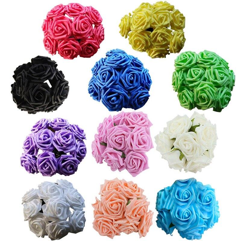 11 Colores 10 Cabezas de 8 CM de Espuma PE Rosa Artificial Flores de La Boda Ram