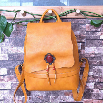 Vintage Classical Designer Genuine Leather Lady Diamonds Backpack Natural Soft Cowhide Female Women Small Yellow Bag Back Pack
