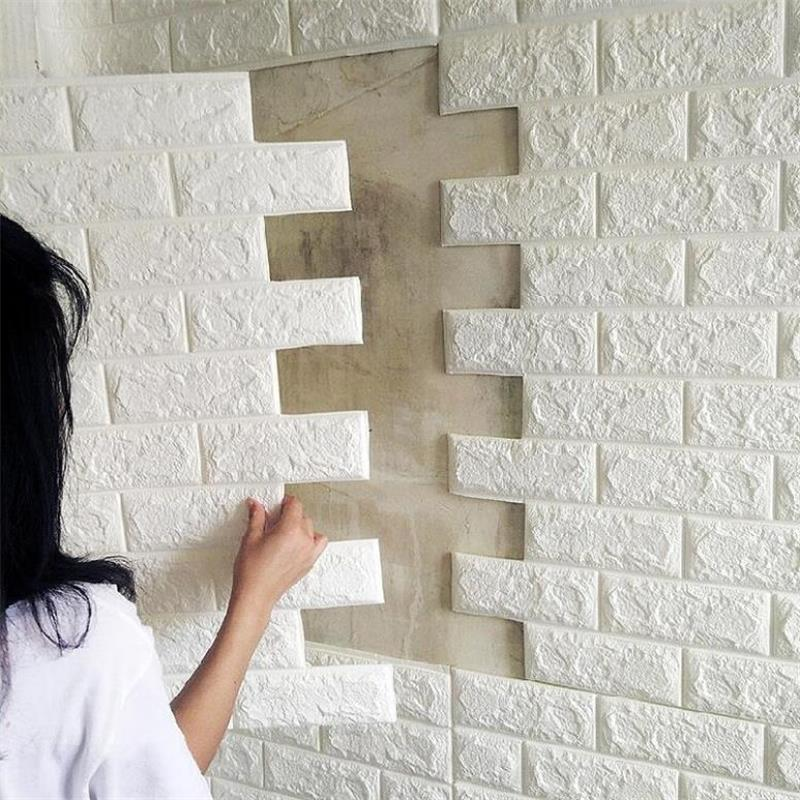 PE Foam 3D Stone Brick Wall Sticker 39*70cm Home Decor Living Room Wallpaper For Kids Rooms Decals Self-Adhesive DIY Art Mural