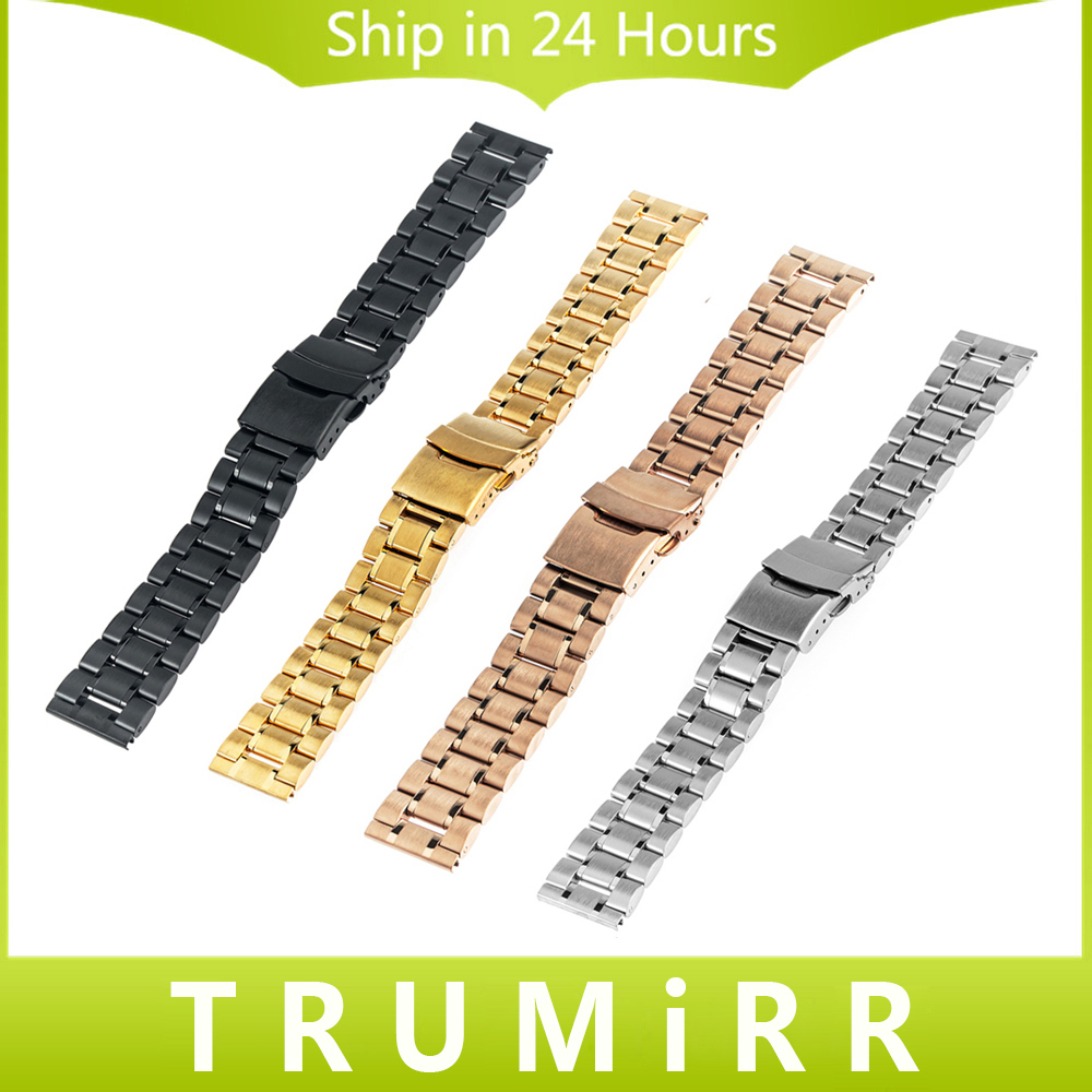 Stainless Steel Watchband 16 18 20 22 24mm Universal Watch Band Safety Buckle Strap Wrist Bracelet Black Rose Gold Silver + Tool stainless steel watchband adapters for fitbit charge 2 smart watch band butterfly buckle strap wrist bracelet silver rose gold