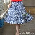 Женщины длинная юбка белье хлопок сращивания голубой глаз ромашки printting длинная юбка летняя леди юбка женская одежда