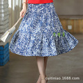 Women long skirt linen cotton Splice Blue eye daisy printting long skirt summer Lady skirt Women clothes