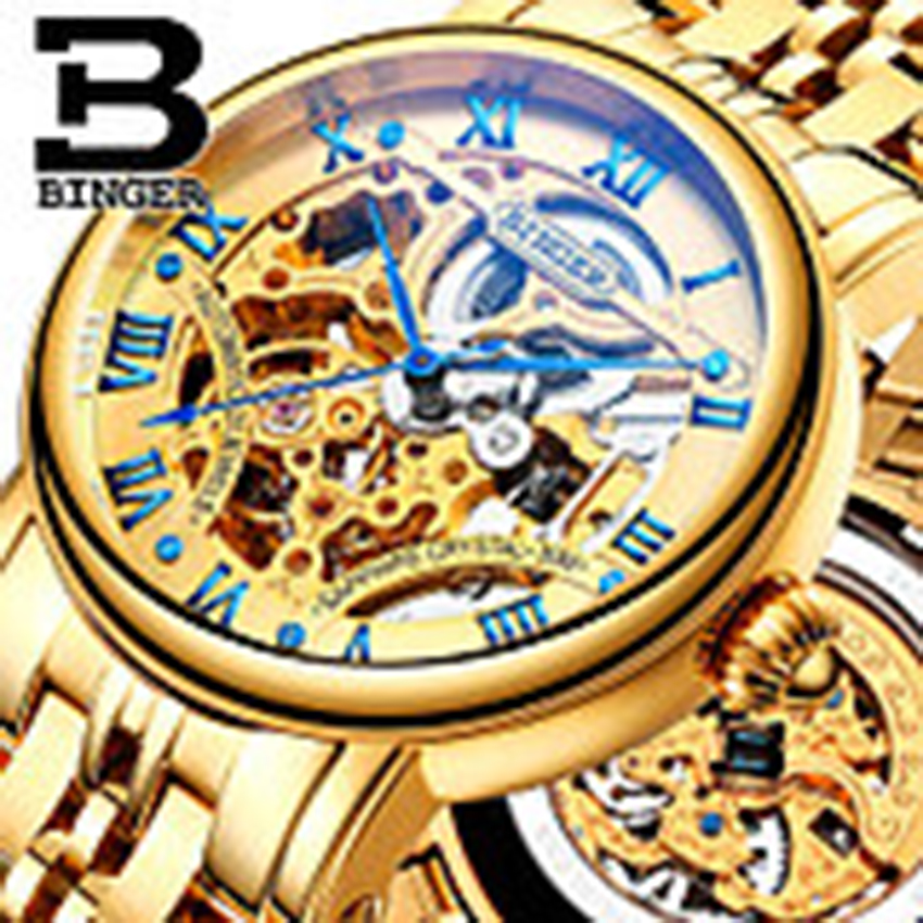 Genuine Luxury BINGER Brand Men automatic mechanical self-wind full steel double-sided hollow leather strap male fashion watch kinyued brand men self wind waterproof stainless steel strap automatic mechanical male black dial fashion tourbillon watch