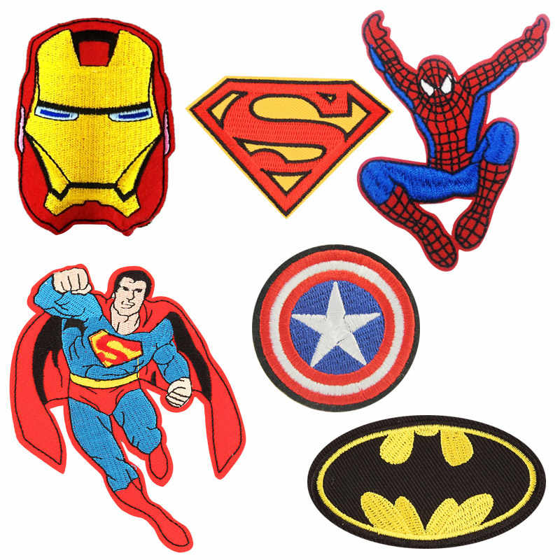 Cartoon Batman Superman heros Captain patch Embroidered Iron Patches For Clothing DIY Kids Clothes Stickers Badges wholesale