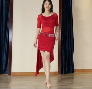 Image 3 - 2019 Cheap One Piece Modal Dress Bellydance Outfit Sexy Mesh Oriental Dance Practice Show Skirt Black Long Sleeve