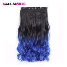 Valen Wigs 22 One Piece Clip in 5 Clips Ombre Wavy Synthetic Hair Women Natural Color False
