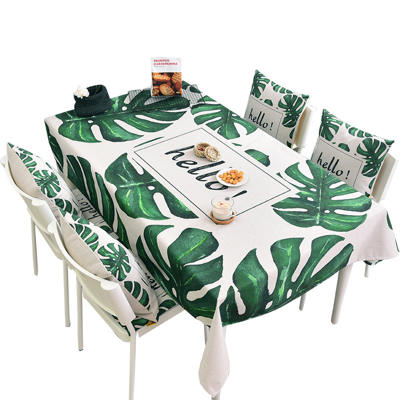 Green Leaf Table Cloth Thick Cotton Linen Art Table Cover