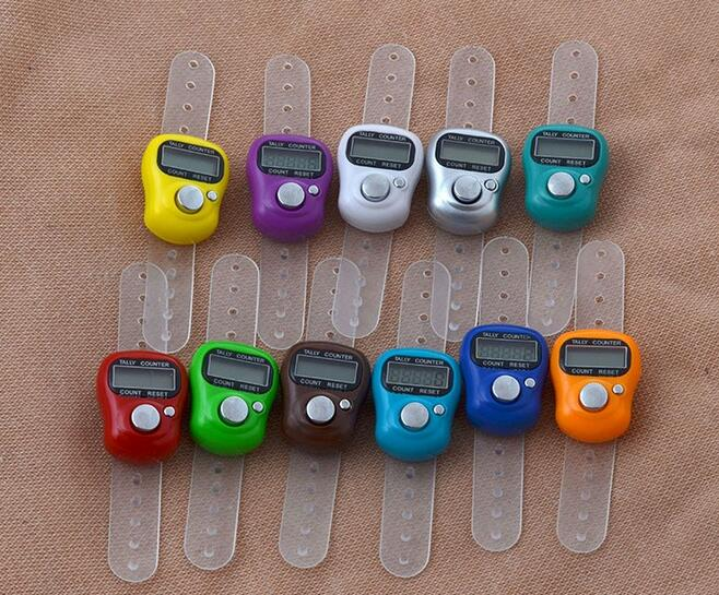 DHL Free Shipping 500pcs Mini Hand Hold Band Tally Counter LCD Digital Screen Finger Ring Electronic Head Count Tasbeeh Tasbih