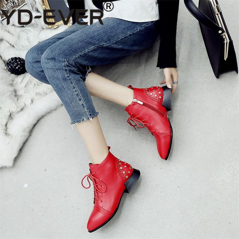 Yd Cheville Pompes En Chaussures Noir ever Femme Boot Nouveau De Nuit Base Pour Talons Bottes Haute Club Femmes Rivets Martin Hiver Véritable Automne rouge Cuir 11Rrq