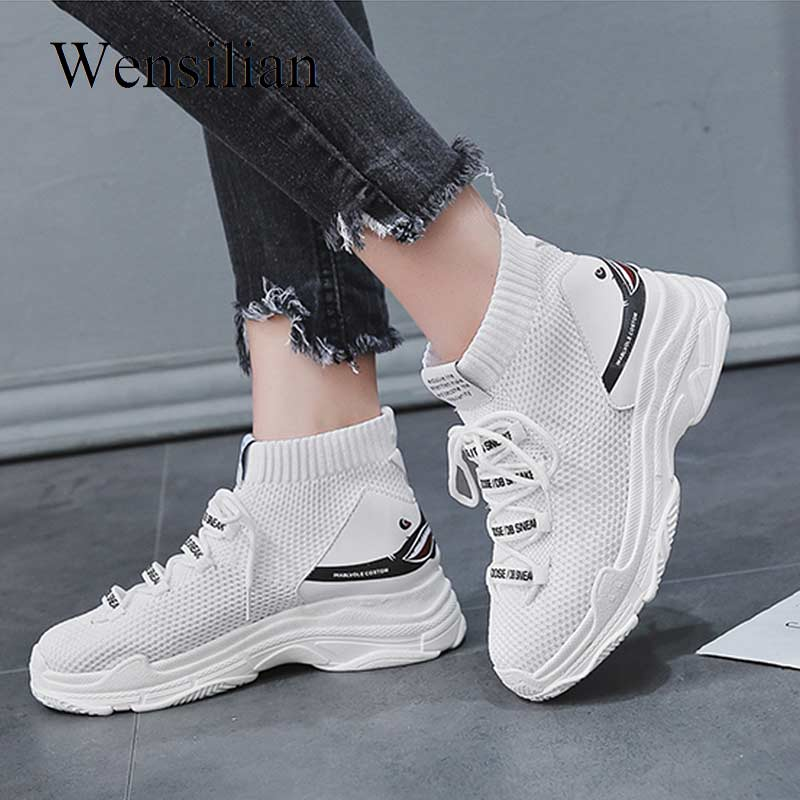 Fashion Platform Sneakers Women Chunky Sneakers Shark Sock Shoes White wedges Shoes For Women Vulcanized Outdoor footwear size44